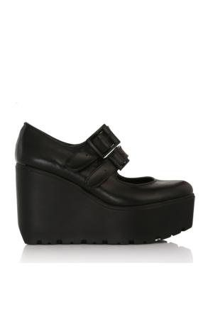 EsMODA Cc-101 Siyah Deri Dolgu Topuklu Ayakkabı