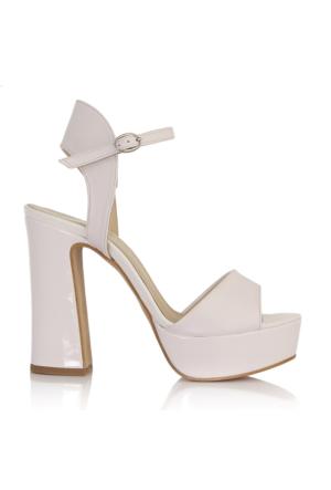 EsMODA Cc-1133 Beyaz Deri Beyaz Rugan Platform Topuklu Ayakkabı