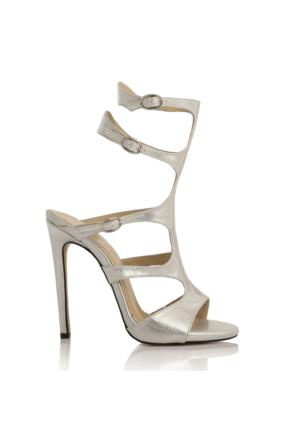 EsMODA Cc-1156 Gümüş Parlak Klasik Topuklu Ayakkabı