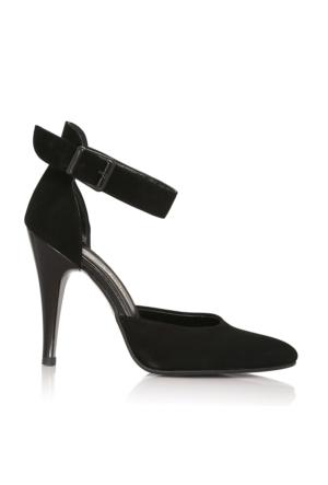 EsMODA Cc-120 Siyah Süet Klasik Topuklu Ayakkabı