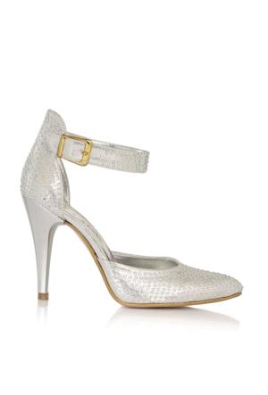 EsMODA Cc-120 Gümüş Taşlı Kadın Taşlı Topuklu Ayakkabı