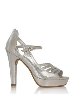 EsMODA Cc-1818 Gümüş Parlak Kadın Taşlı Platformlu Ayakkabı