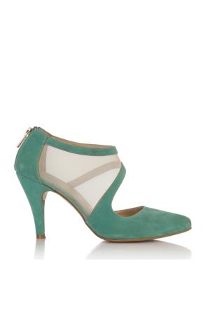 EsMODA Cc-191 Yeşil Süet Klasik Topuklu Ayakkabı