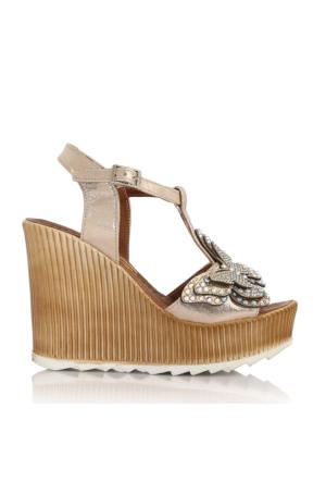 EsMODA Cc-1979 Altın Parlak Kadın Dolgu Topuklu Sandalet