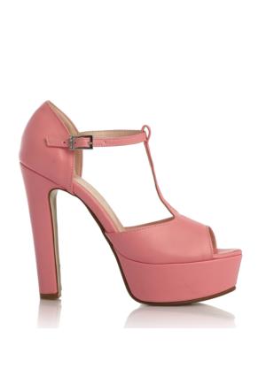 EsMODA Cc-2012 Pembe Deri Kadın Platform Topuklu Ayakkabı