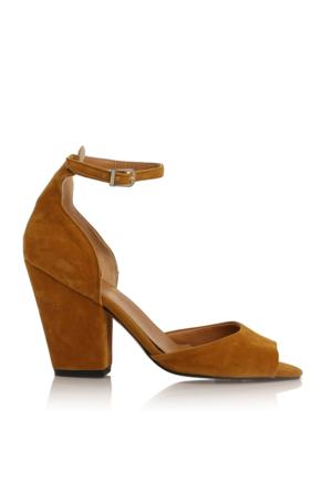 EsMODA Cc-40 Hardal Süet Klasik Topuklu Ayakkabı