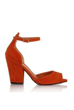 EsMODA Cc-40 Orange Süet Klasik Topuklu Ayakkabı