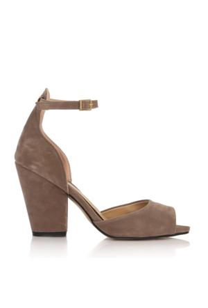 EsMODA Cc-40 Vizon Süet Klasik Topuklu Ayakkabı