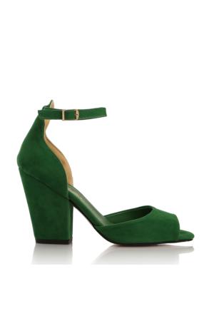 EsMODA Cc-40 Yeşil Süet Klasik Topuklu Ayakkabı