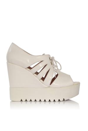 EsMODA Cc-4271 Beyaz Rugan Dolgu Topuklu Ayakkabı