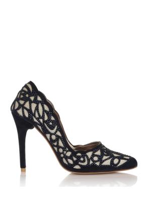 EsMODA Cc-4917 Lacivert Süet Altın Kadın Taşlı Stiletto