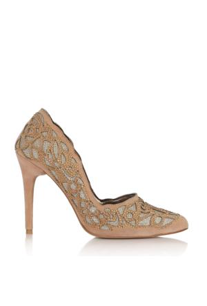 EsMODA Cc-4917 Somon Süet Altın Kadın Taşlı Stiletto