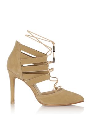 EsMODA Cc-555 Bej Süet Kadın Topuklu Ayakkabı
