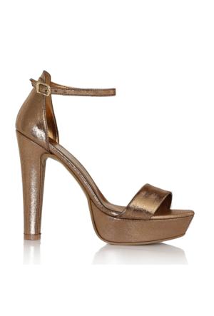 EsMODA Cc-6015 Bronz Parlak Kadın Platformlu Ayakkabı