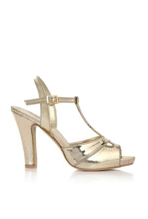 EsMODA Cc-668 Altın Ayna Klasik Topuklu Ayakkabı