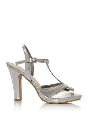 EsMODA Cc-668 Gümüş Ayna Klasik Topuklu Ayakkabı
