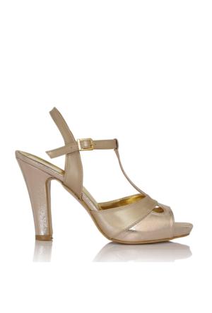 EsMODA Cc-668 Altın Parlak Klasik Topuklu Ayakkabı