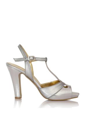 EsMODA Cc-668 Gümüş Parlak Klasik Topuklu Ayakkabı