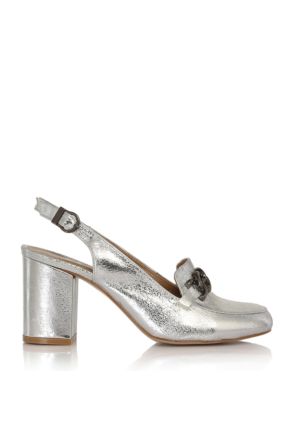 EsMODA Cc-6725 Gümüş Parlak Klasik Topuklu Ayakkabı