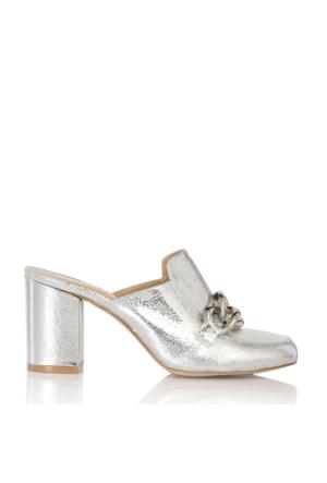 EsMODA Cc-6735 Gümüş Parlak Klasik Topuklu Ayakkabı