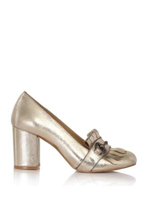 EsMODA Cc-6745 Altın Parlak Klasik Topuklu Ayakkabı