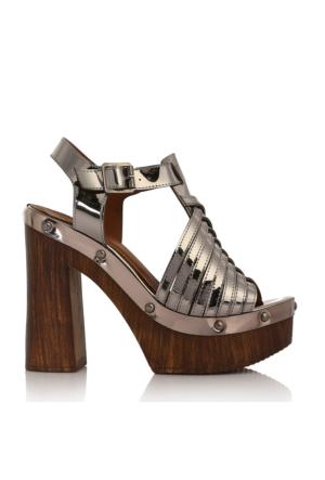 EsMODA Cc-705 Antrasit Ayna Kadın Sandalet