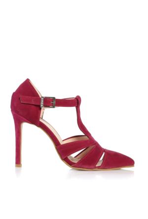 EsMODA Cc-713 Fuşya Süet Klasik Topuklu Ayakkabı