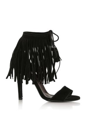 EsMODA Cc-888 Siyah Süet Kadın Püsküllü Topuklu Ayakkabı