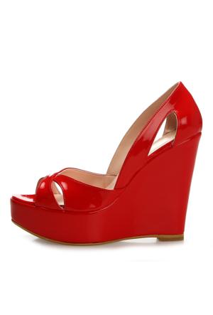 EsMODA Cm-001 Kırmızı Dolgu Topuklu Ayakkabı