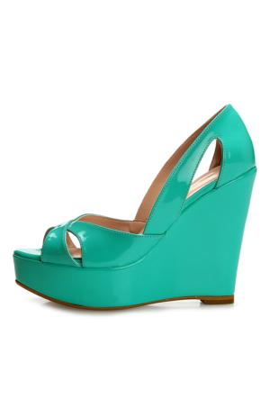 EsMODA Cm-001 Yeşil Dolgu Topuklu Ayakkabı