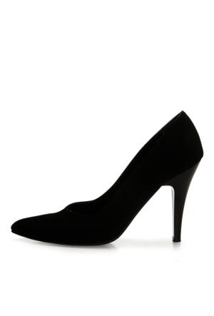 EsMODA Ma-004 Siyah Süet Klasik Topuklu Ayakkabı