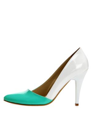 EsMODA Ma-005 Su Yeşili Beyaz Klasik Topuklu Ayakkabı
