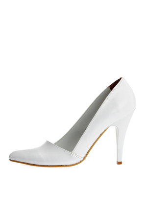 EsMODA Ma-005 Beyaz Deri Klasik Topuklu Ayakkabı