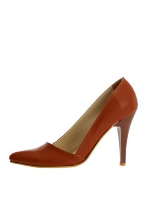 EsMODA Ma-005 Taba Deri Klasik Topuklu Ayakkabı