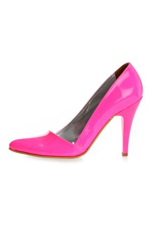 EsMODA Ma-005 Fuşya Neon Klasik Topuklu Ayakkabı