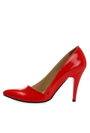 EsMODA Ma-005 Kırmızı Rugan Klasik Topuklu Ayakkabı