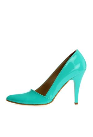 EsMODA Ma-005 Su Yeşili Rugan Klasik Topuklu Ayakkabı