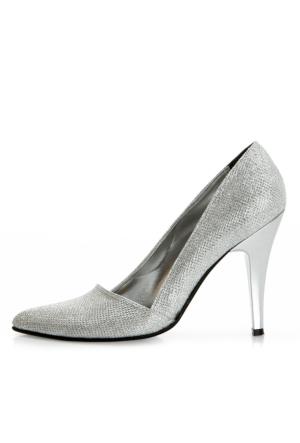 EsMODA Ma-005 Gümüş Simli Klasik Topuklu Ayakkabı