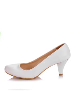EsMODA Ma-006 Beyaz Deri Klasik Kısa Topuklu Ayakkabı