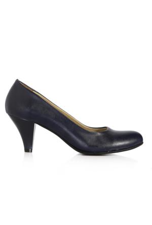EsMODA Ma-006 Lacivert Deri Klasik Kısa Topuklu Ayakkabı
