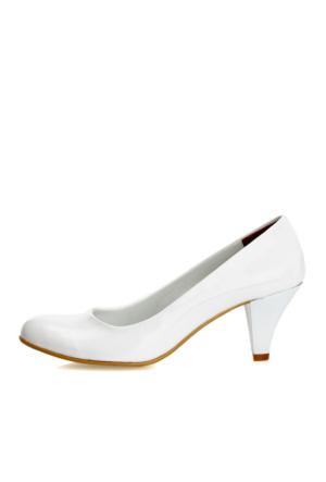 EsMODA Ma-006 Beyaz Rugan Klasik Kısa Topuklu Ayakkabı