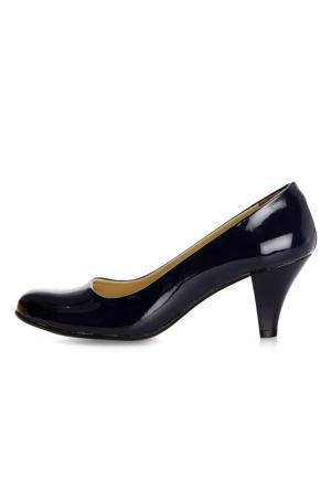 EsMODA Ma-006 Lacivert Rugan Klasik Kısa Topuklu Ayakkabı