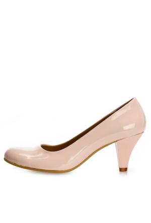EsMODA Ma-006 Pudra Rugan Klasik Kısa Topuklu Ayakkabı