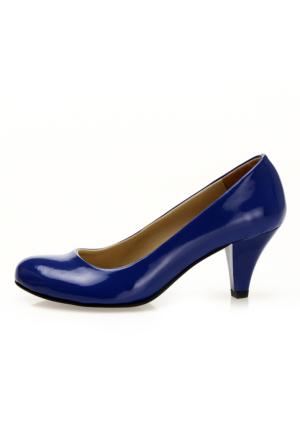 EsMODA Ma-006 Saks Rugan Klasik Kısa Topuklu Ayakkabı