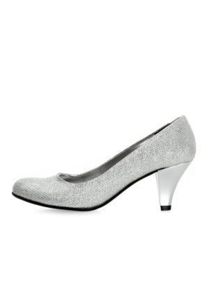 EsMODA Ma-006 Gümüş Simli Klasik Kısa Topuklu Ayakkabı