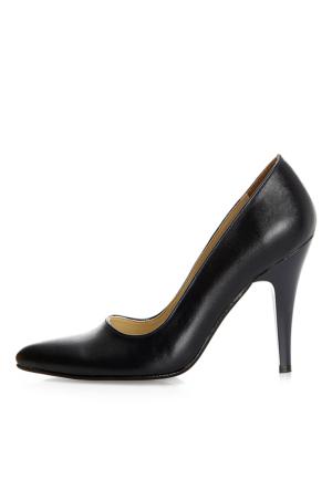 EsMODA Ma-007 Lacivert Deri Klasik Topuklu Ayakkabı