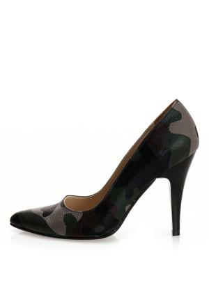 EsMODA Ma-007 Kamuflaj Klasik Topuklu Ayakkabı