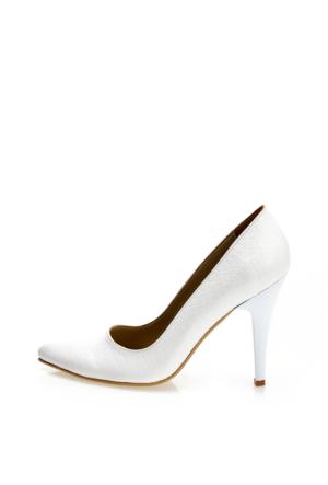 EsMODA Ma-007 Beyaz Kroko Klasik Topuklu Ayakkabı