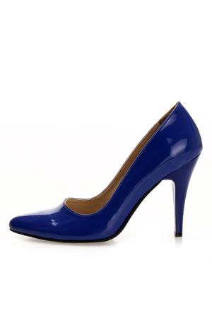 EsMODA Ma-007 Saks Rugan Klasik Topuklu Ayakkabı
