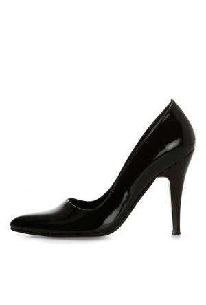 EsMODA Ma-007 Siyah Rugan Klasik Topuklu Ayakkabı